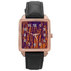 Blue and orange pattern Rose Gold Leather Watch
