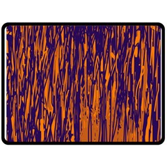 Blue and orange pattern Double Sided Fleece Blanket (Large)