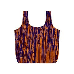 Blue and orange pattern Full Print Recycle Bags (S)