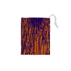 Blue and orange pattern Drawstring Pouches (XS)