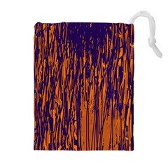 Blue and orange pattern Drawstring Pouches (Extra Large)