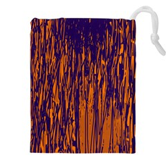 Blue and orange pattern Drawstring Pouches (XXL)