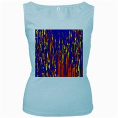 Orange, blue and yellow pattern Women s Baby Blue Tank Top