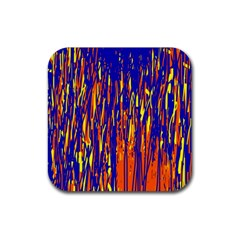 Orange, blue and yellow pattern Rubber Coaster (Square)