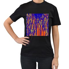 Orange, blue and yellow pattern Women s T-Shirt (Black) (Two Sided)