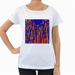 Orange, blue and yellow pattern Women s Loose-Fit T-Shirt (White)