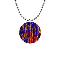 Orange, blue and yellow pattern Button Necklaces