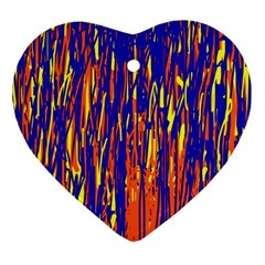 Orange, blue and yellow pattern Heart Ornament (2 Sides)