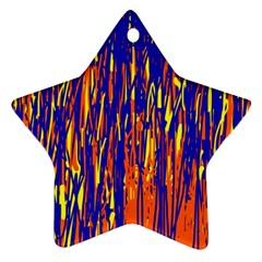 Orange, blue and yellow pattern Star Ornament (Two Sides)