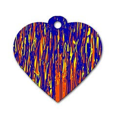 Orange, blue and yellow pattern Dog Tag Heart (One Side)