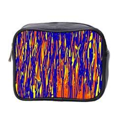 Orange, blue and yellow pattern Mini Toiletries Bag 2-Side
