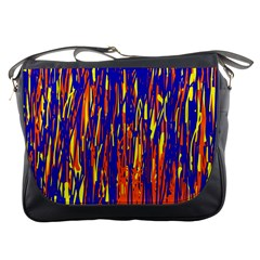 Orange, blue and yellow pattern Messenger Bags