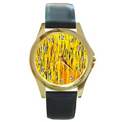 Yellow pattern Round Gold Metal Watch