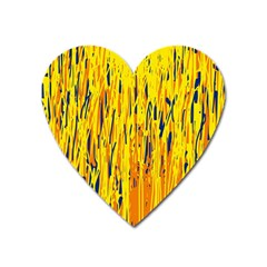 Yellow pattern Heart Magnet