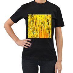 Yellow pattern Women s T-Shirt (Black) (Two Sided)