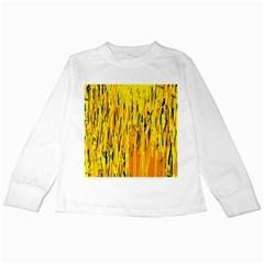 Yellow pattern Kids Long Sleeve T-Shirts