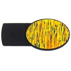 Yellow pattern USB Flash Drive Oval (4 GB)