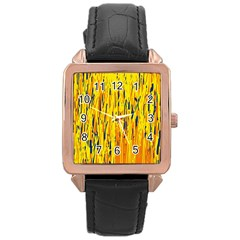 Yellow pattern Rose Gold Leather Watch