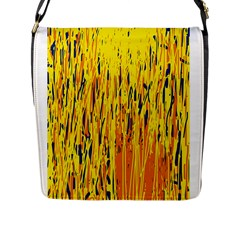 Yellow pattern Flap Messenger Bag (L)