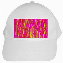 Pink and yellow pattern White Cap
