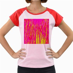 Pink and yellow pattern Women s Cap Sleeve T-Shirt