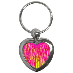 Pink and yellow pattern Key Chains (Heart)