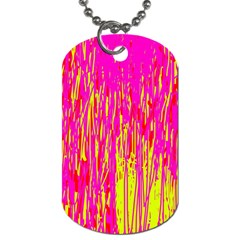 Pink and yellow pattern Dog Tag (One Side)