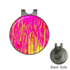 Pink and yellow pattern Hat Clips with Golf Markers