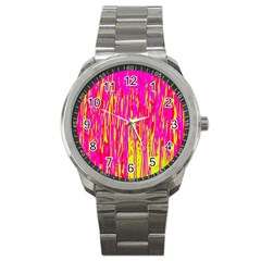 Pink and yellow pattern Sport Metal Watch