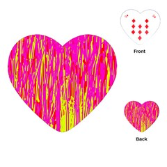 Pink and yellow pattern Playing Cards (Heart)