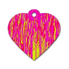 Pink and yellow pattern Dog Tag Heart (Two Sides)