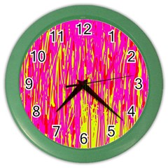Pink and yellow pattern Color Wall Clocks