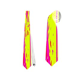 Pink and yellow pattern Neckties (One Side)