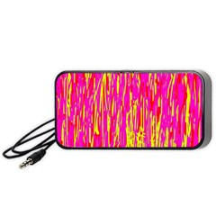 Pink and yellow pattern Portable Speaker (Black)