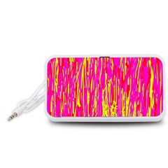 Pink and yellow pattern Portable Speaker (White)