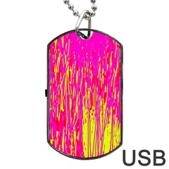 Pink and yellow pattern Dog Tag USB Flash (One Side)