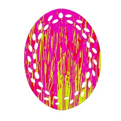 Pink and yellow pattern Oval Filigree Ornament (2-Side)