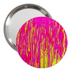 Pink and yellow pattern 3  Handbag Mirrors