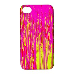Pink and yellow pattern Apple iPhone 4/4S Hardshell Case with Stand