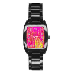 Pink and yellow pattern Stainless Steel Barrel Watch