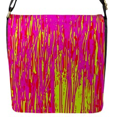 Pink and yellow pattern Flap Messenger Bag (S)