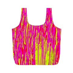 Pink and yellow pattern Full Print Recycle Bags (M)