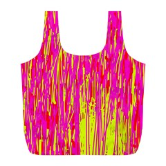 Pink and yellow pattern Full Print Recycle Bags (L)
