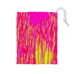 Pink and yellow pattern Drawstring Pouches (Large)