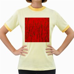 Decorative red pattern Women s Fitted Ringer T-Shirts