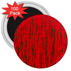 Decorative red pattern 3  Magnets (100 pack)