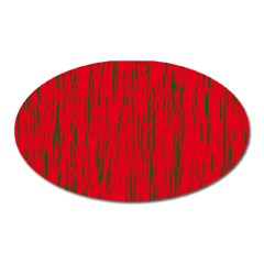 Decorative red pattern Oval Magnet