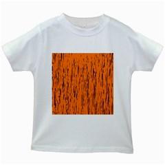 Orange pattern Kids White T-Shirts