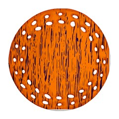 Orange pattern Round Filigree Ornament (2Side)