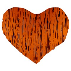 Orange pattern Large 19  Premium Heart Shape Cushions